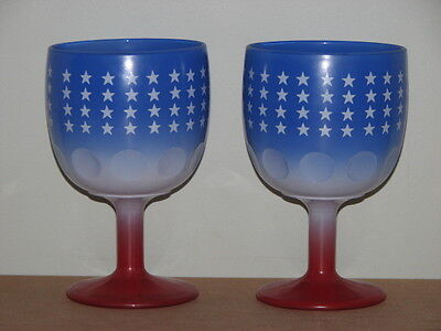 2 Bartlett Collins USA 16oz Beer Wine Glasses American Red White Blue Stars
