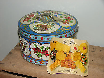 Vintage Blue Floral Gray Dunn Scotland Biscuit Tin With Flowers Label Lid