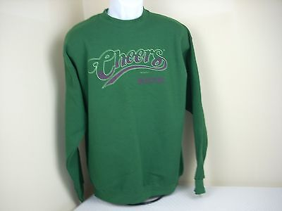 NEW Cheers Logo Sweatshirt Green Large Crewneck VTG Authentic Official TV Show