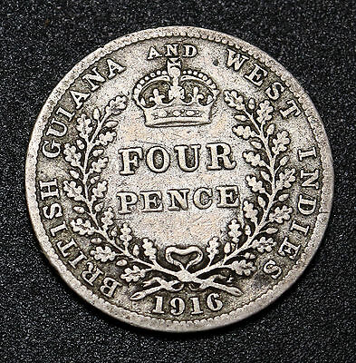 1916 British Guiana / Guyana  & West Indies 4 Pence Silver Fourpence  Low Mintge