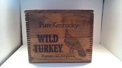 Vintage Wooden Wild Turkey Bourbon Crate Box Jointed Corners w/Lid Bar/ Mancave