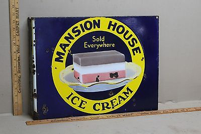"SCARCE 1930""s MANSION HOUSE ICE CREAM 2-SIDED PORCELAIN FLANGE SIGN DAIRY COW"