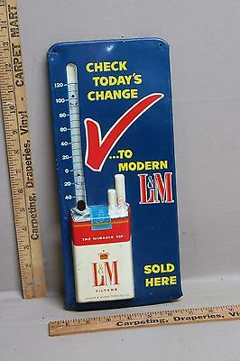 1950's L&M TOBACCO CIGARETTES EMBOSSED METAL THERMOMETER SIGN NICE GAS OIL 2