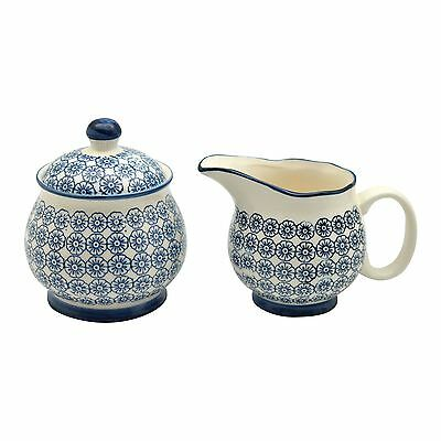 Patterned Milk Jug 300ml & Sugar Pot / Bowl Set -  Blue Flower Print