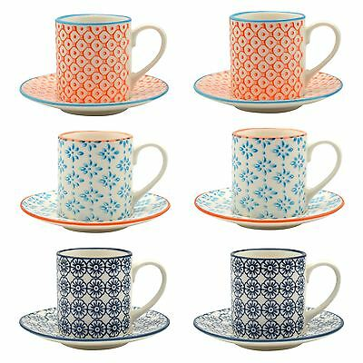 Patterned Espresso Coffee Cup and Saucer Set 65ml - Set of 6