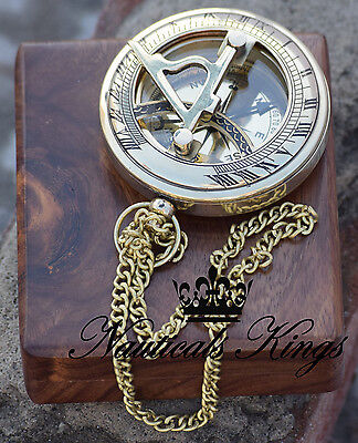 Brass Sundial Compass Antique Nautical Reproduction Marine Working Compass Gift