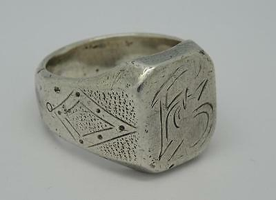 ***Antique Mens Heavy Polish Solid Silver Signet Ring c1920 18g***