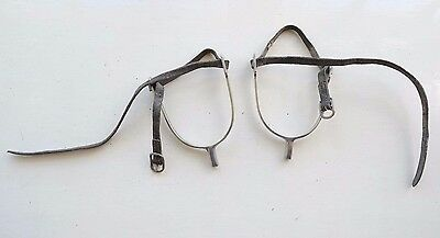 GOOD QUALITY NICKEL RIDING SPURS W LEATHER STRAPS boots fox hunting polo whip