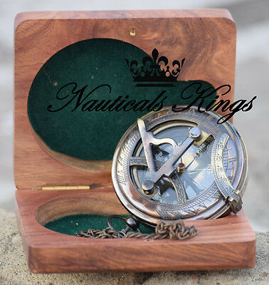 Vintage Collectible Vintage Maritime Brass Push Button Sundial Pocket Compass