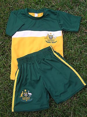 Soccer Set AUSTRALIA JERSEY & SHORTS Kids in 6 sizes New 2 Piece Set Socceroo