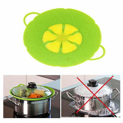 Spill Stopper Silicone Lid Cover Pots Pans Overflow Boil Cooking Tools Green Red
