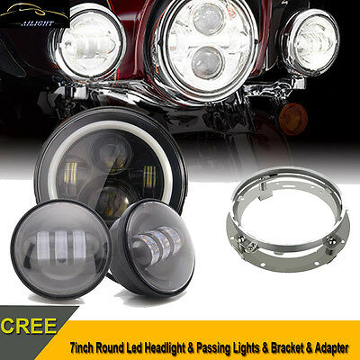 "7"" LED Headlight + 4.5"" Auxiliary Fog Spot Passing Lights For Harley Touring BLK"