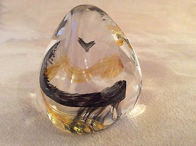 Caithness Glass Small Brown / Black 'pebble' Paperweight