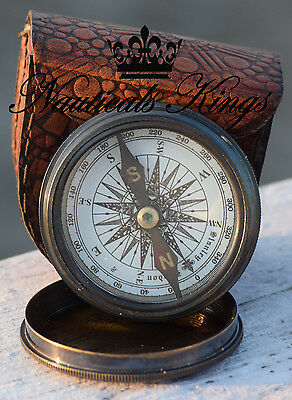 Vintage London Robert Frost Brass and Antique Poem Compass with Leather Case.
