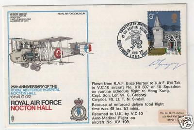 AIRCRAFT - RAF NOCTON HALL Signed & Flown Cover to HONG KONG *