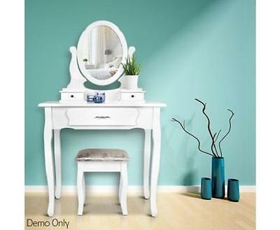 Bedroom 3 Drawer Mirror Dressing Vanity Table Organiser Storage w/ Stool - White