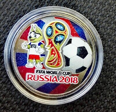 Russia coins  World Cup 2018 mascot ZABIWAKA (wolf) 25 rubles colored unc