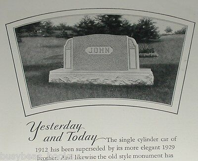 1929 Rock of Ages advertisement, 'John' name on Tombstone, cemetery Headstone