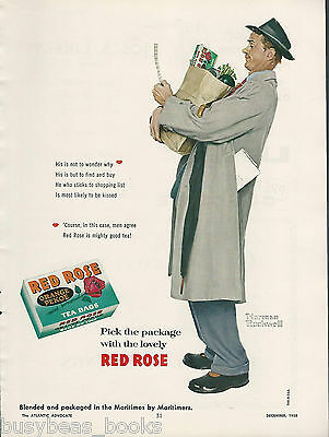 1958 RED ROSE TEA advertisement, NORMAN ROCKWELL art, Canadian advert