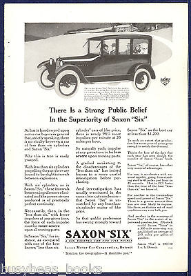 1917 Saxon 'Six' Automobile advertisement, SAXON sedan, vintage auto