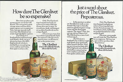 1983 GLENLIVET advertisement x2, The Glenlivet 12 yr Scotch Whisky, expensive!