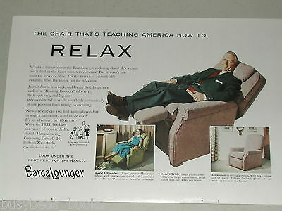 1955 BarcaLounger ad, Man in recliner chair