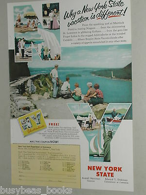 1956 New York State ad, NY tourism, scenic river view