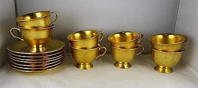 7 Pickard China All Over Gold Rose + Daisy Demitasse Cup & Saucer Sets #669
