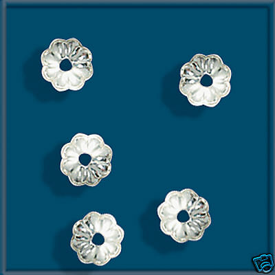 100 Sterling Silver 925 Bead Caps 4.5mm