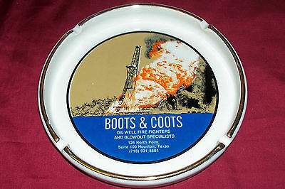 Boots & Coots Ashtray Old Vintage Oil Well Field Blowout Firefighting Red Adair