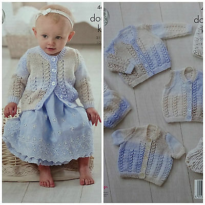KNITTING PATTERN Baby Lace Cardigans Waistcoat & Hat DK King Cole 4675