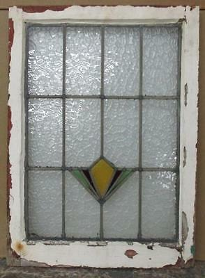 MID SIZED OLD ENGLISH LEADED STAINED GLASS WINDOW Geometric Abstract 20 x 27.75""