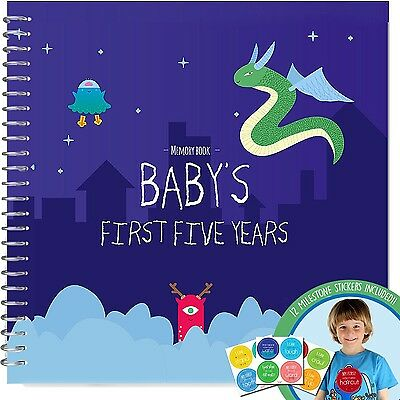 BABY MEMORY BOOK + STICKERS - Unconditional Rosie Baby Boy's FIRST FIVE YEARS...