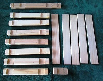 Assorted Lot 14 Oversized Wooden Lincoln Logs  Replacement Pieces