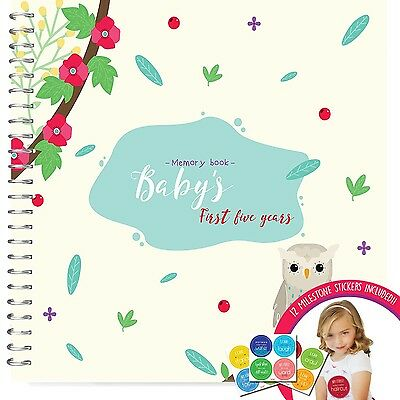 Baby's First Year Memory Book With 12 Milestone Stickers, Owls Edition