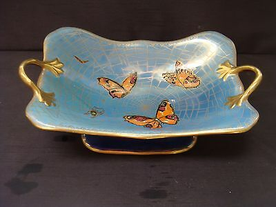 Large Art Deco Carlton Ware Footed Comport Bowl New Flies Pattern Lustre Gilded