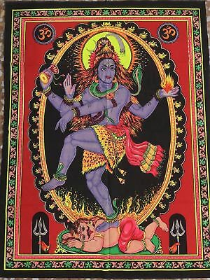 tapiz decoracion paredes hindu Goddess Kali glow in the dark hanging tapestry