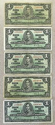 5 Pieces Series 1937 Bank Of Canada One Dollar Bills