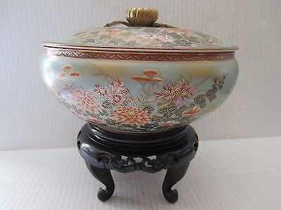 """Antique Japanese Kutani 8 1/2"""" Lidded Bowl on Wood Stand ~ Floral with Gold"""
