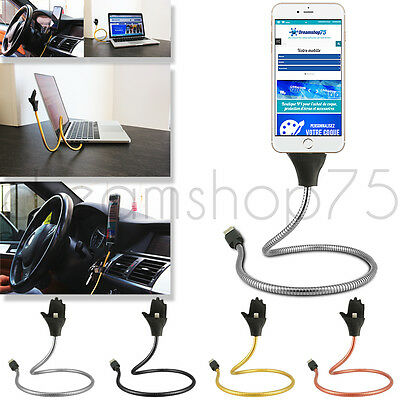Cable Flexible Metal Rigide Chargeur Micro Usb Support Tous Smartphones