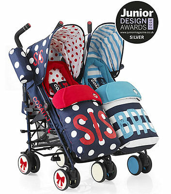 New Cosatto supa dupa twin pushchair sis and bro 4 with footmuffs & raincover