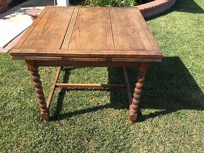 Antique English Oak Barley Twist Draw Leaf Pub Table & 4 Matching Chairs