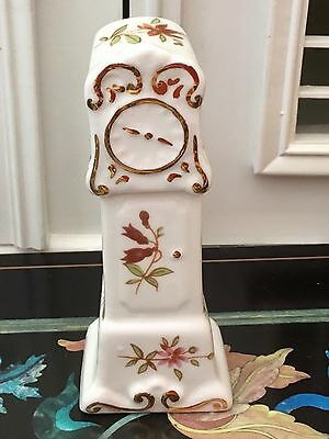 Hammersley Miniature Grandfather Clock Purple Pink Blue Floral Excellent Gilding