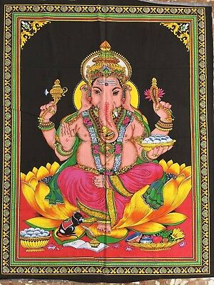 tapiz decoracion pared hindu Lord Ganesha Indian wall hanging tapestry painting