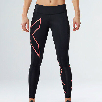 2XU Mid-Rise Womens Black Compression Sports Long Tights Bottoms Pants