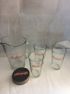 Budweiser Pitcher, Glasses, and coasters