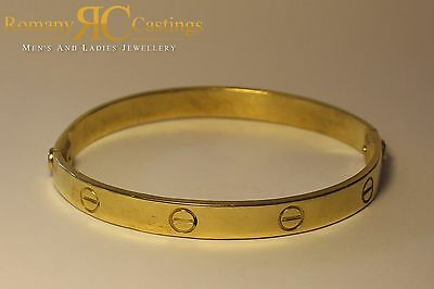 Ladies Designer Screw Bangle cast in Jewellers Bronze 9ct Gold dipped 18g 63x7mm