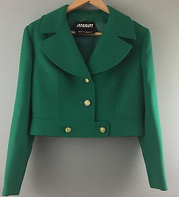 JANCOURT 1950s 1960s vintage short green wool jacket 12/14