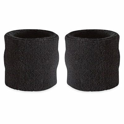 Suddora Black Wrist Sweatband Pair - Two Sport Cotton Wristbands