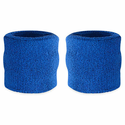Suddora Blue Wrist Sweatband Pair - Two Sport Cotton Wristbands